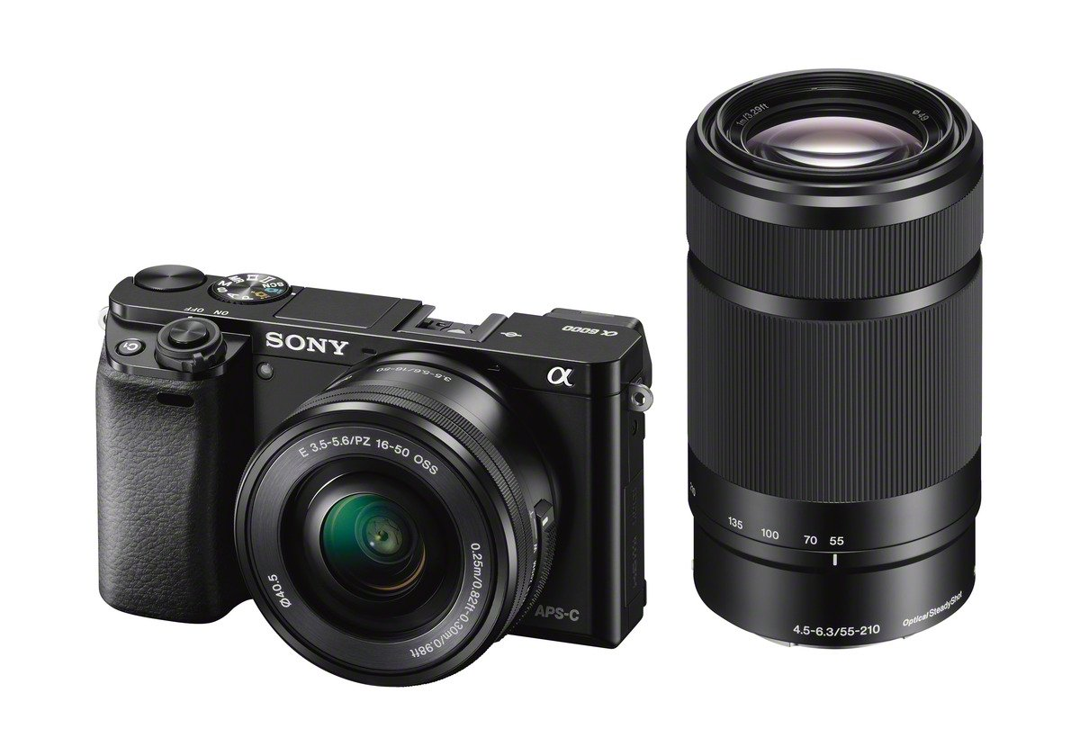 Sony Alpha 6000L Kit Fotocamera Digitale Mirrorless Compatta con Obiettivo Intercambiabile SEL 16-50 + SEL 55-210 mm, Sensore APS-C CMOS Exmor da 24.3 MP, Mirino OLED Tru-Finder, Nero product image