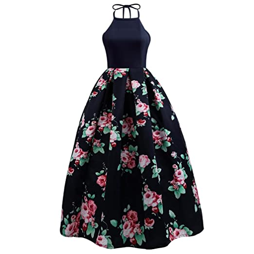 c8a7756ebee5e7 TOTOD Women s V-Neck Flowers Sheath Sleeveless Evening Party Ball Gown  Polyester Cute Print Casual