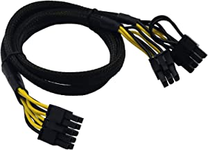 COMeap 10 Pin to 8 Pin(6+2) 6 Pin PCIe GPU Power Adapter Sleeved Cable for Dell Precision 5820 7820 21-inch (53cm)