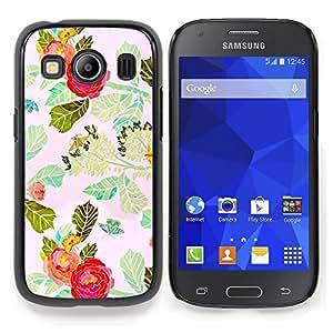 Stuss Case / Funda Carcasa protectora - Flor roja de la acuarela Hojas - Samsung Galaxy Ace Style LTE/ G357