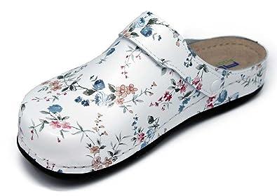Comfort Line Damen Clogs & Pantoletten, Weiß - White with Pink Flowers - Größe: 40