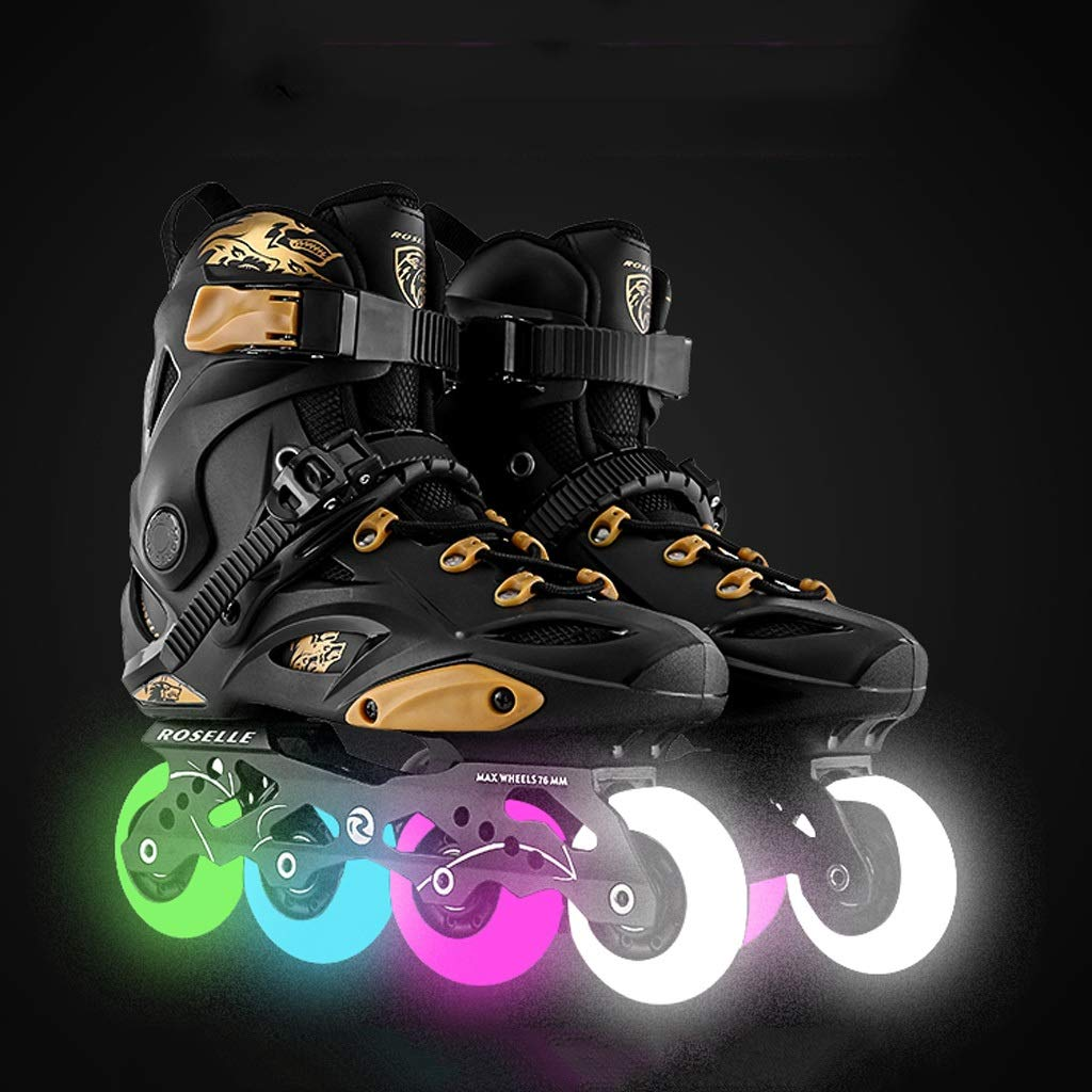 JIANXIN Inline Skates, Adult Light Roller Skates, Suitable for Men and Women and Beginners Skating, Black Gold (Color : B, Size : EU 40)