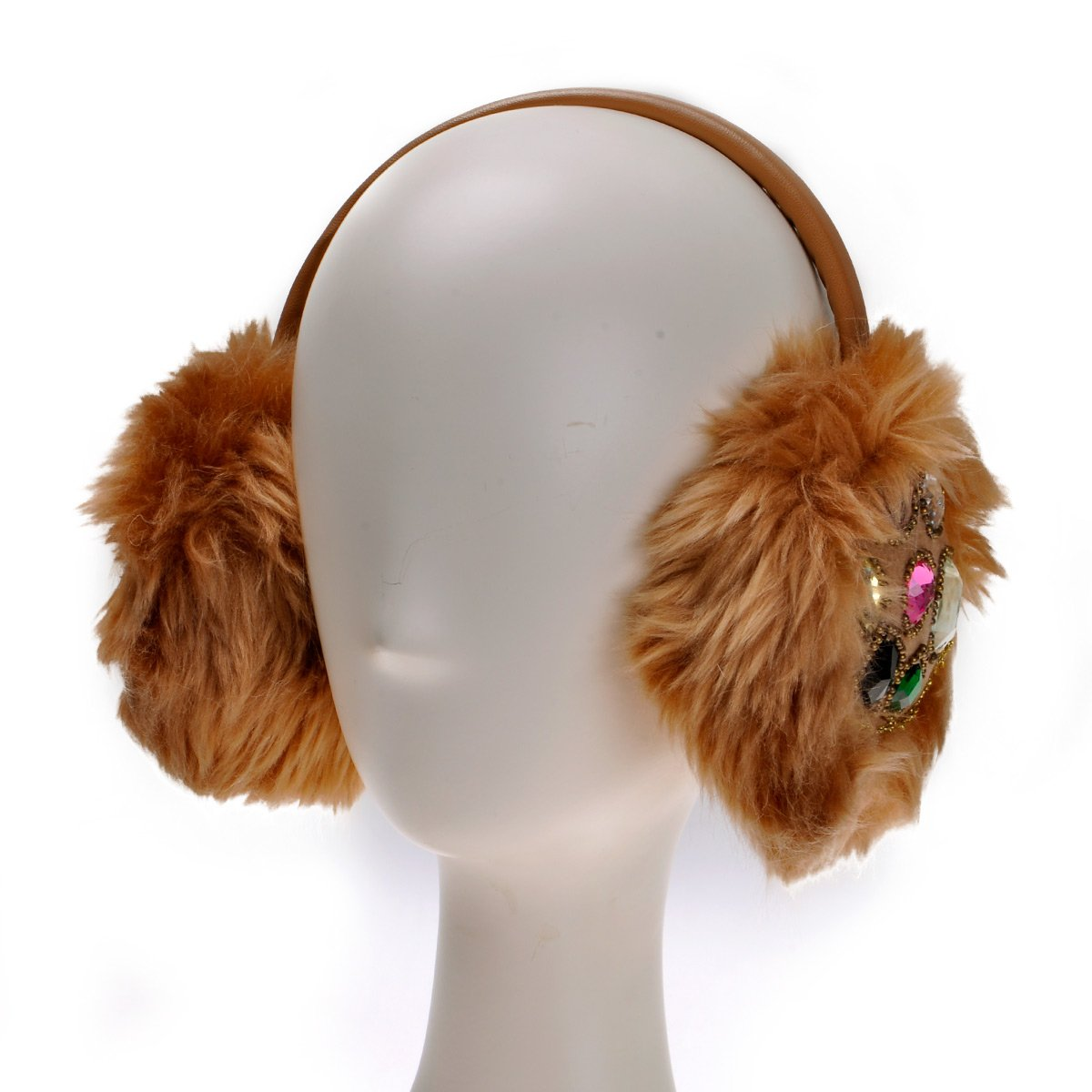ZLYC Women Hand Sewing Fashion Rhinestone Embroidery Band Fur Earmuffs Earwarmer, Black ZYJ-ET-005