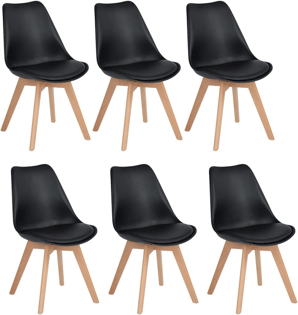 H.J WeDoo Lot de 6 chaises de Salle à Manger Scandinaves, Chaises Rétro Tulip Rembourrée Bois de Hêtre Massif- Noir