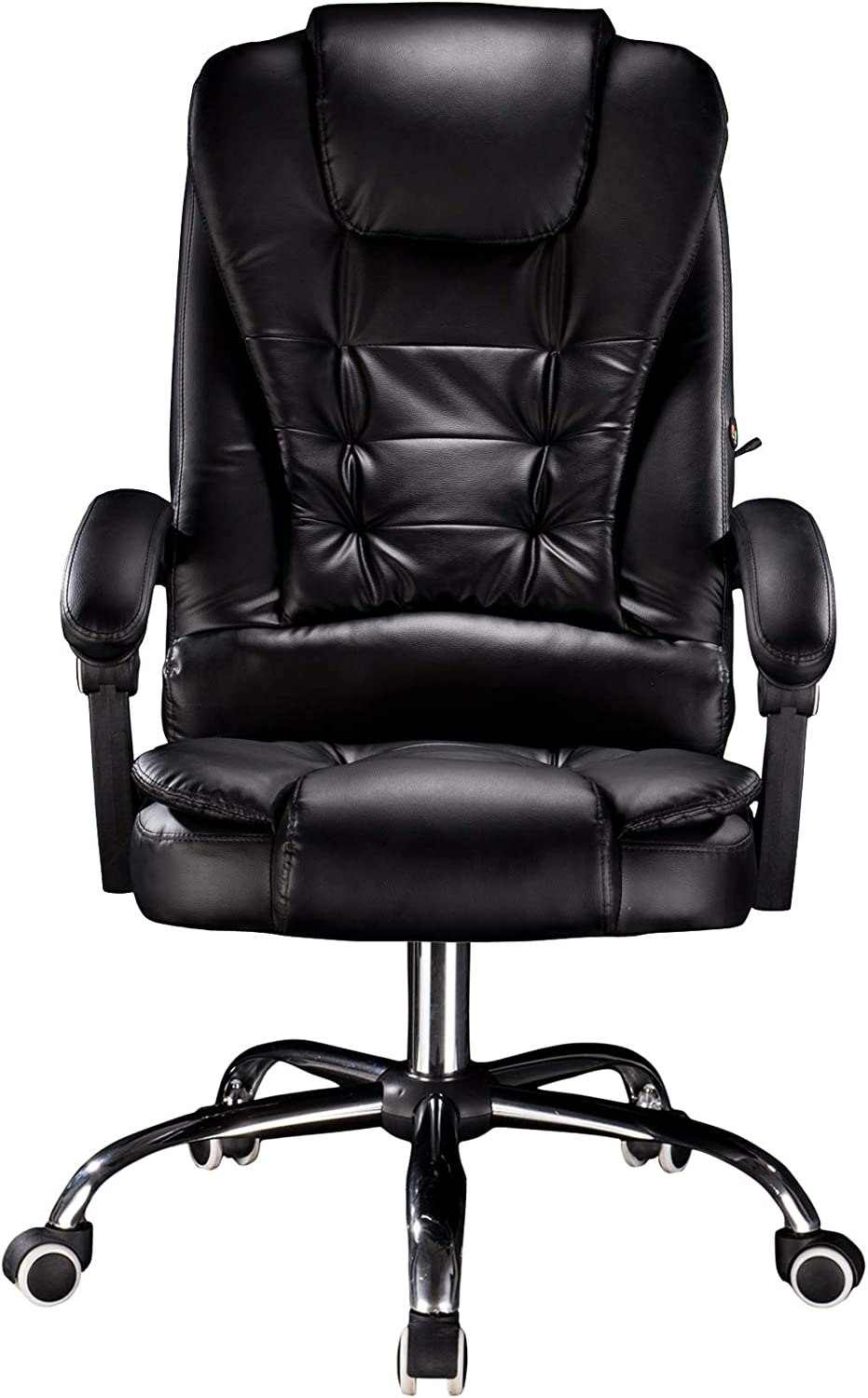 Cosyshow Comfort Genuine Leather High Back Executive Office Desk Chair Ergonomic Adjustable Recliner Computer PC Gaming Chair Footrest Armrest (Black)