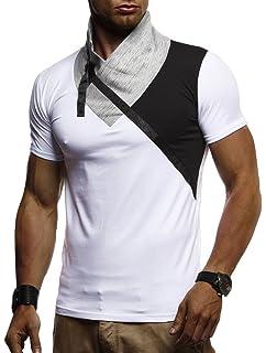 6a6b7e66a351 LEIF NELSON Herren Sommer T-Shirt modernes Sweatshirt Crew Neck Stehkragen Kurzarm  Longsleeve Basic Shirt