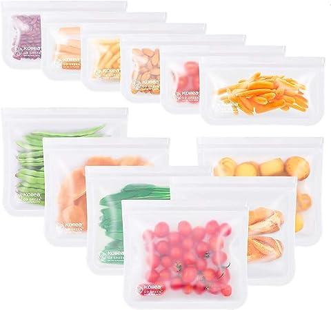 Comprar Kollea Bolsas de Silicona Reutilizables 12 Pack, Bolsas de conservación, Bolsas de Silicona Preservación de Alimento Hermética para Fruta Verduras Carne y sándwich, Ideal para Hogar Cocina y Viajes