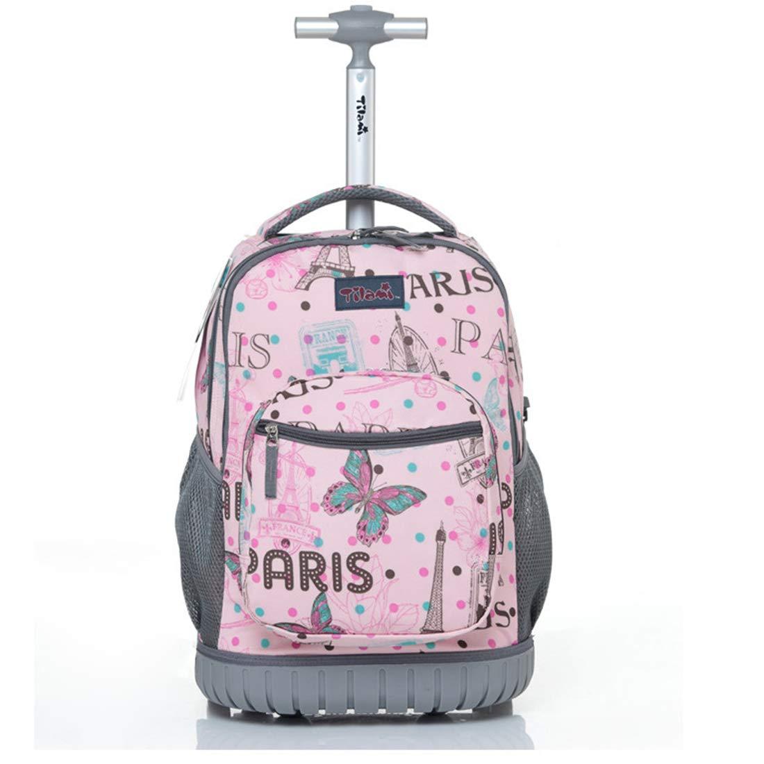 女の子かわいい学校バッグカラフルな蝶 Bookbag のためのローリングバックパック 18in  B07KHN7JZP