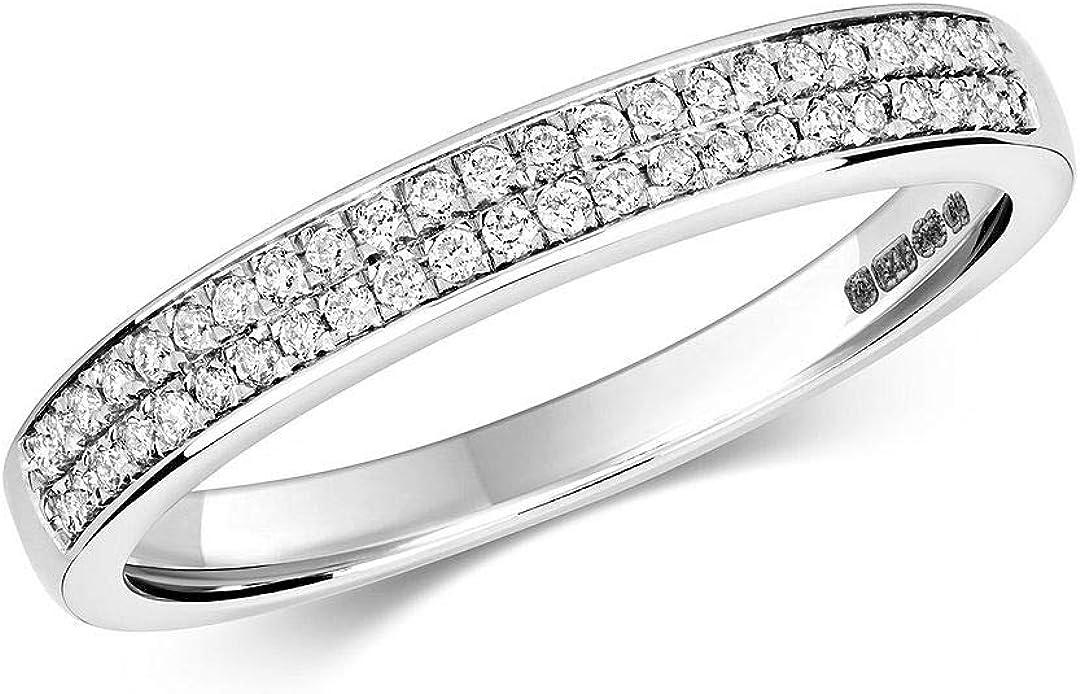 Anillo de eternidad con diamante de oro blanco y 2 filas