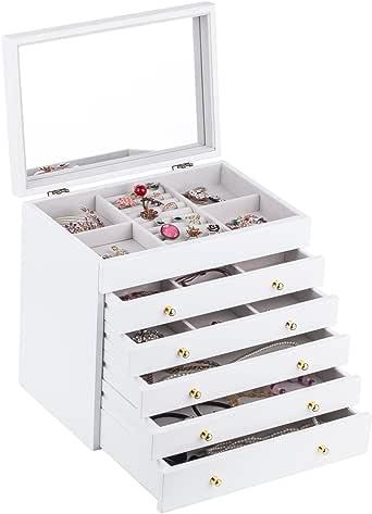 Brown White Large Wooden Jewellery Box Earring Bracelets Organizer 5 Drawers Mirror Box MG008