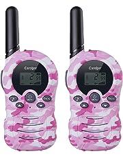 Caroger 8 Canales Paquete de 2 walkie talkies Interfono Radio de Dos hasta 3300 Metros / 2 Millas de Alcance Camo Rosado