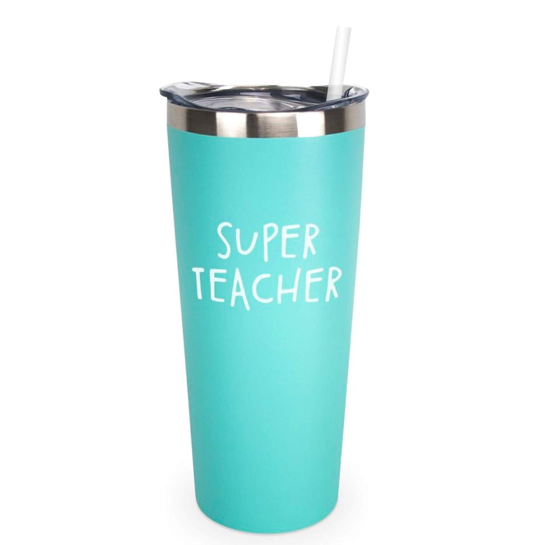 Teacher Appreciation End of Year Teacher Gift Graduation Teacher Retirement Super Teacher 22 oz MINT Insulated Tumbler with Lid and Straw