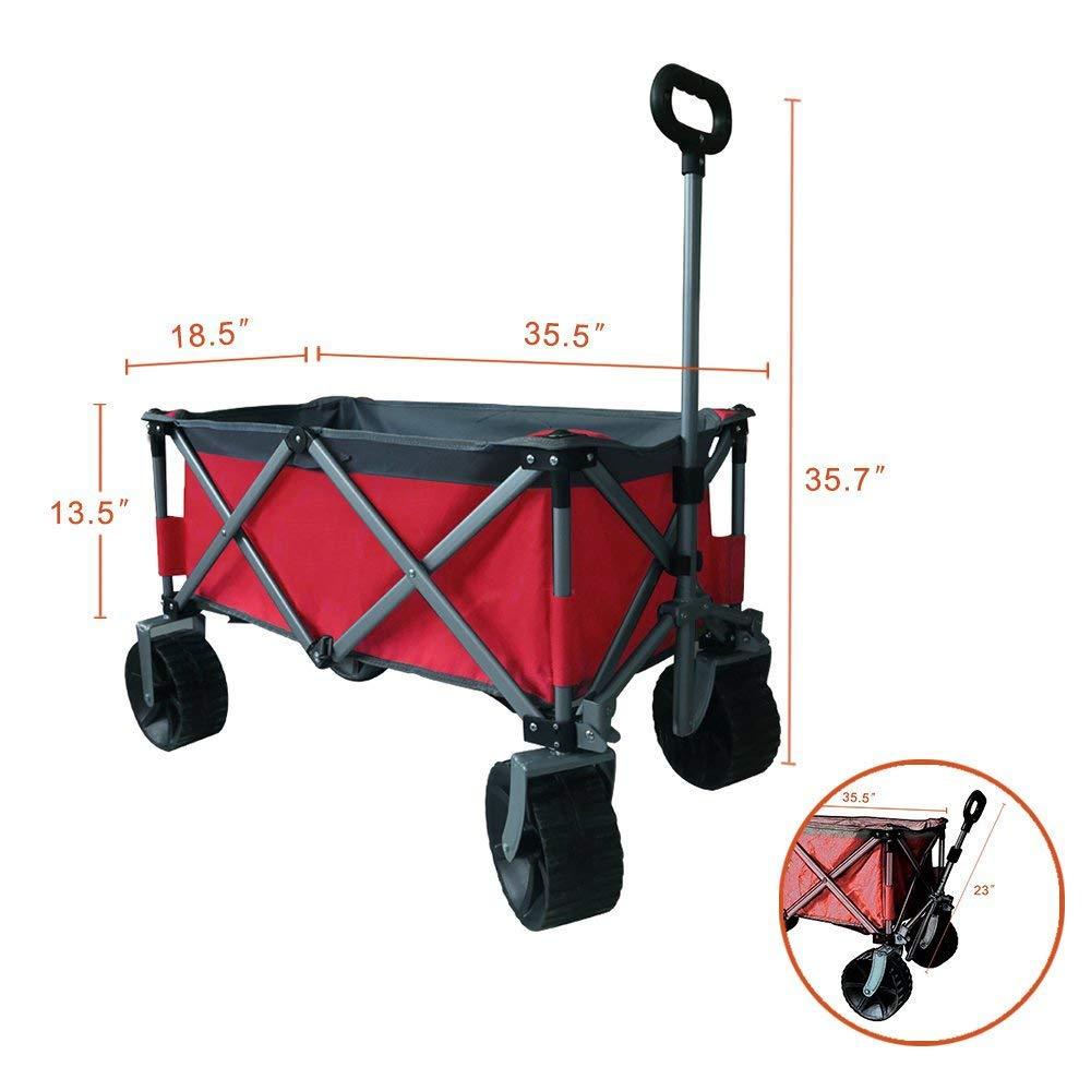 Eurmax Sports Collapsible Sturdy Steel Frame Garden Carts on Wheels Utility Beach Wagon Cart with Big Wheels,Bonus 8x8Ft Picnics Mat Blue