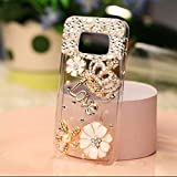 KC Luxury 3D Rhinestones Crystal Diamond Deluxe Handmade Clear Bling Gold Crown Crystal Soft Case Case Back Cover for Samsung Galxay S6 - Gold