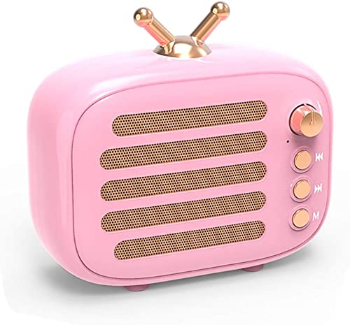 Wireless Stereo Retro Speaker, Dosmix Portable Bluetooth Vintage Speaker with Built-in Mic, 12 Hours Playtime, TF, Aux for Kitchen Bedrooms Party Travel Outdoor Android iOS, Pink
