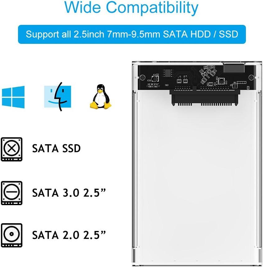 ELUTENG Caja Disco Duro 2.5 USB 3.0 6 Gbps UASP Carcasa Disco Duro ...