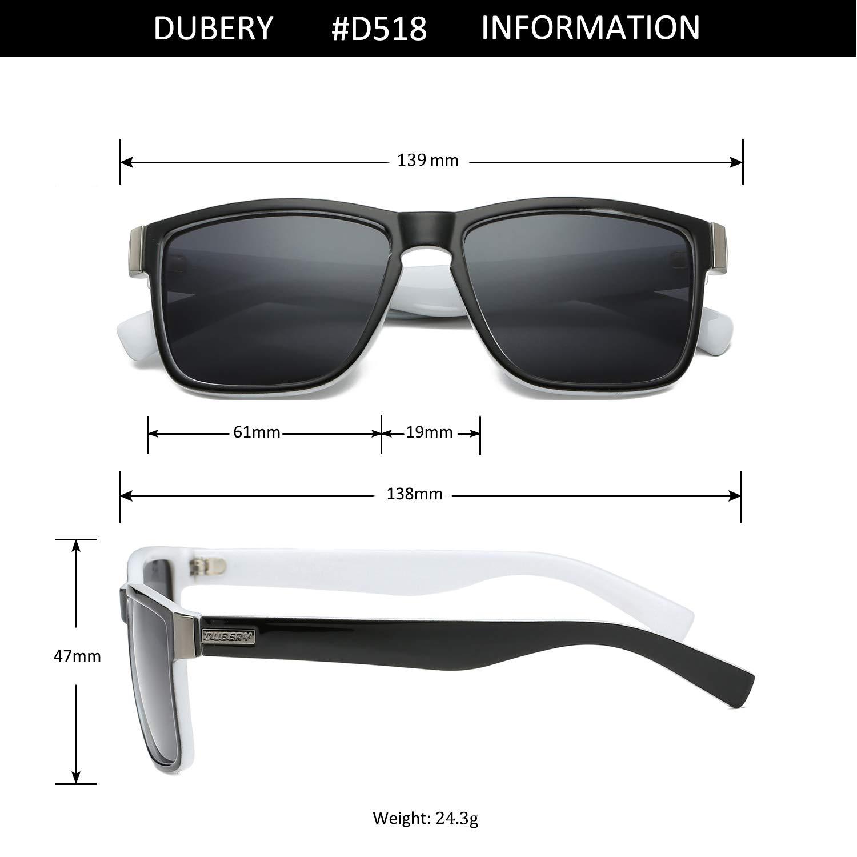 DUBERY Vintage Polarized Sunglasses for Men Women Retro Square Sun Glasses D518