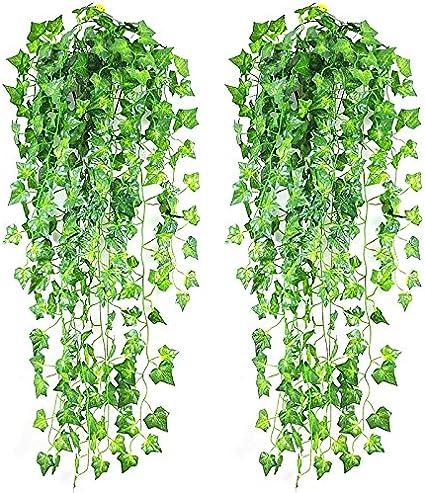 GUOYIHUA Guirlande de lierre artificielle Faux Ivy Guirlande de vigne pour mariage Faux Fleurs Maison de cuisine Jardin Bureau Mariage D/écoration murale 1 pi/èce