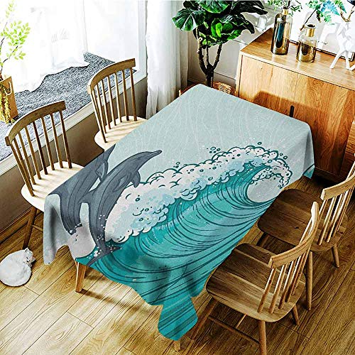 XXANS Fashions Rectangular Table Cloth,Sea Animals,Waves Flowing Water Sketch Sea Ocean and Two Dolphins Summertime,Modern Minimalist,W60x120L Charcoal Grey Mint Teal