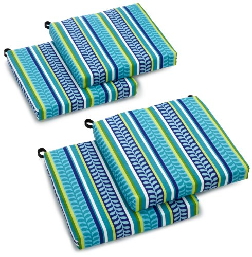 Blazing Needles Indoor/Outdoor Spun Poly 19-Inch by 20-Inch by 3-1/2-Inch All Weather UV Resistant Zippered Cushions, Pike Azure, Set of 4 ($20 Patio Chairs)
