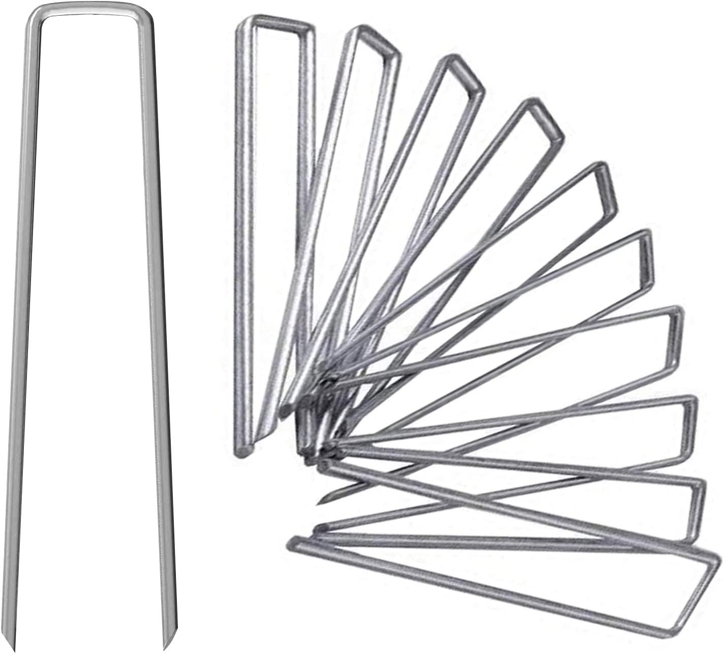 UPMCT 12 Inch Galvanized Garden Landscape Staples Stakes, 25 50 100 PCS Anti-Rust Garden Staples U-Shaped Landscape Pins for Secure Lawn Fabric (25, 12 Inch)