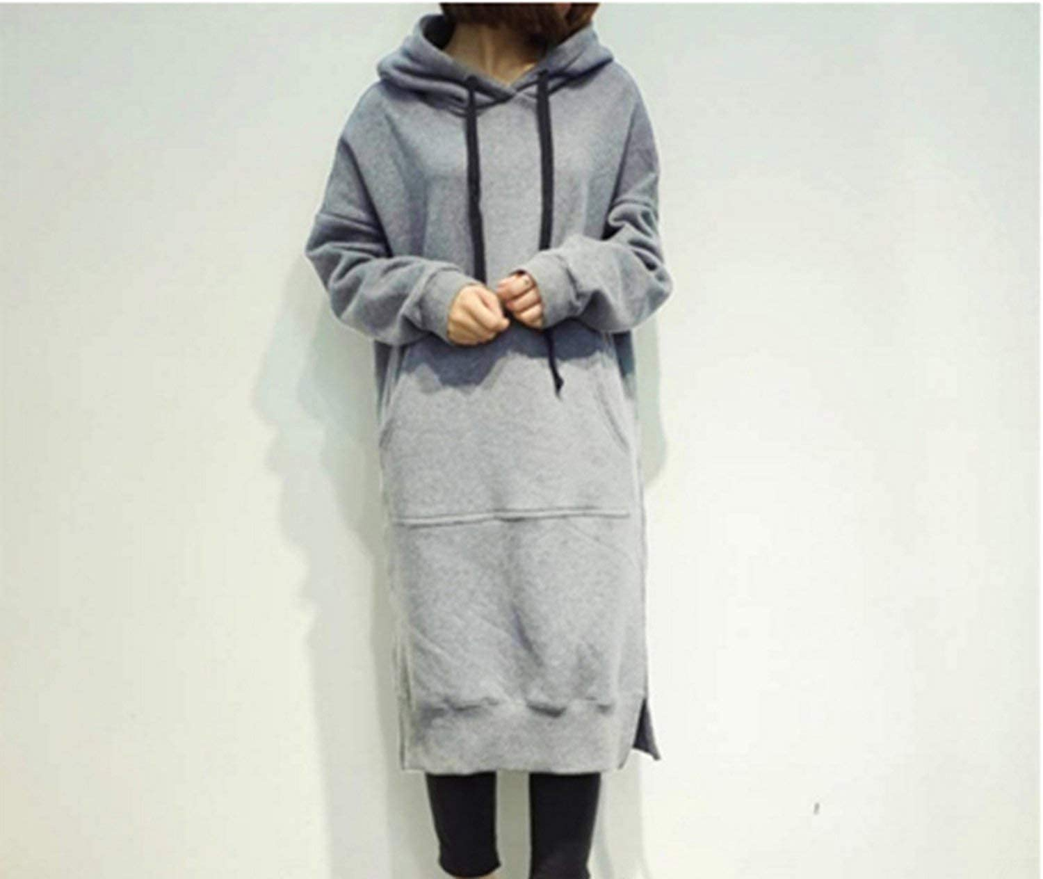 baixa Womens Hoodies Spring Autumn Women Long Pullover Fleece Hooded Sweatshirt Dress