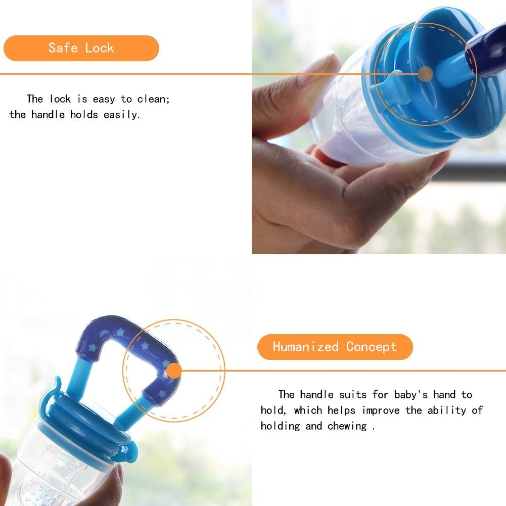 Biubee 3 Pcs Baby Food Feeder Silicone Fresh Fruit Boon Squirt Green Kiwi Teether Mesh For Infant Toddlers Feeding And Teething