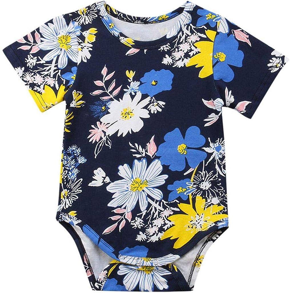 Jimmackey Neonata Bambine Manica Corta Pagliaccetto Floreale Stampa Tuta Body Bambino Vestiti Beb/è 0-24 Mesi
