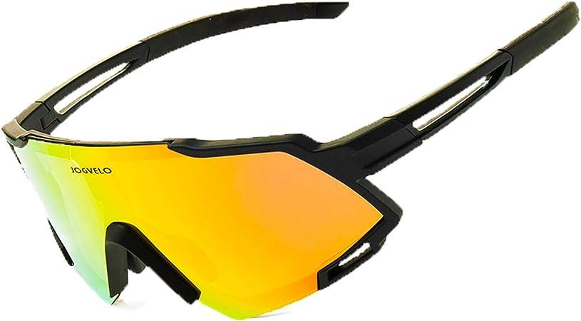 JOGVELO Sport Sunglasses Polarized for Men UV400 Protection con 3 Interchangeable Lens for Cycling Running Baseball Golf, Black&Red