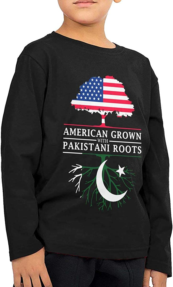 HADYKIDSLOVE American Grown with Pakistani Roots Kids T-Shirt Long Sleeve Boys Girls T-Shirt