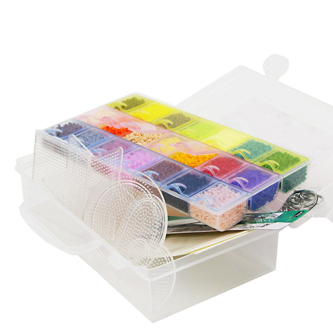 Artkal Beads 14,300 Mini Beads 21 Colors and 4 Small Mini Pegboards in a Box Set CC21 C-2.6mm (IT'S MINI BEADS NOT STANDARD MIDI SIZE) by ARTKAL
