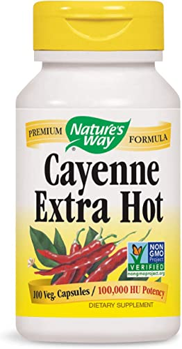 Nature s Way Cayenne Extra Hot 100,000 HU Potency, 100 Vcaps Packaging May Vary