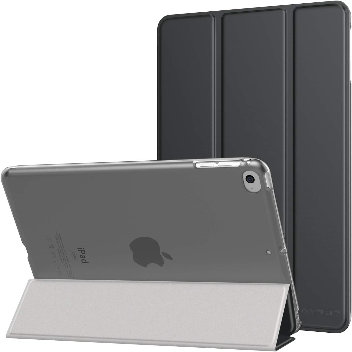 MoKo Case Fit iPad Mini 4 - Slim Lightweight Smart Shell Stand Cover with Translucent Frosted Back Protector Fit iPad Mini 4 7.9 inch 2015 Release Tablet, Space Gray (with Auto Wake/Sleep)