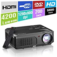 HD LED Proyector Portátil Video Proyector LCD HDMI 1080P TV Cine en casa Exterior 4200 Lumen Multimedia HDMI USB VGA Audio AV para teléfonos Inteligentes Xbox PS4 Juegos Laptop Tablet DVD Android iOS