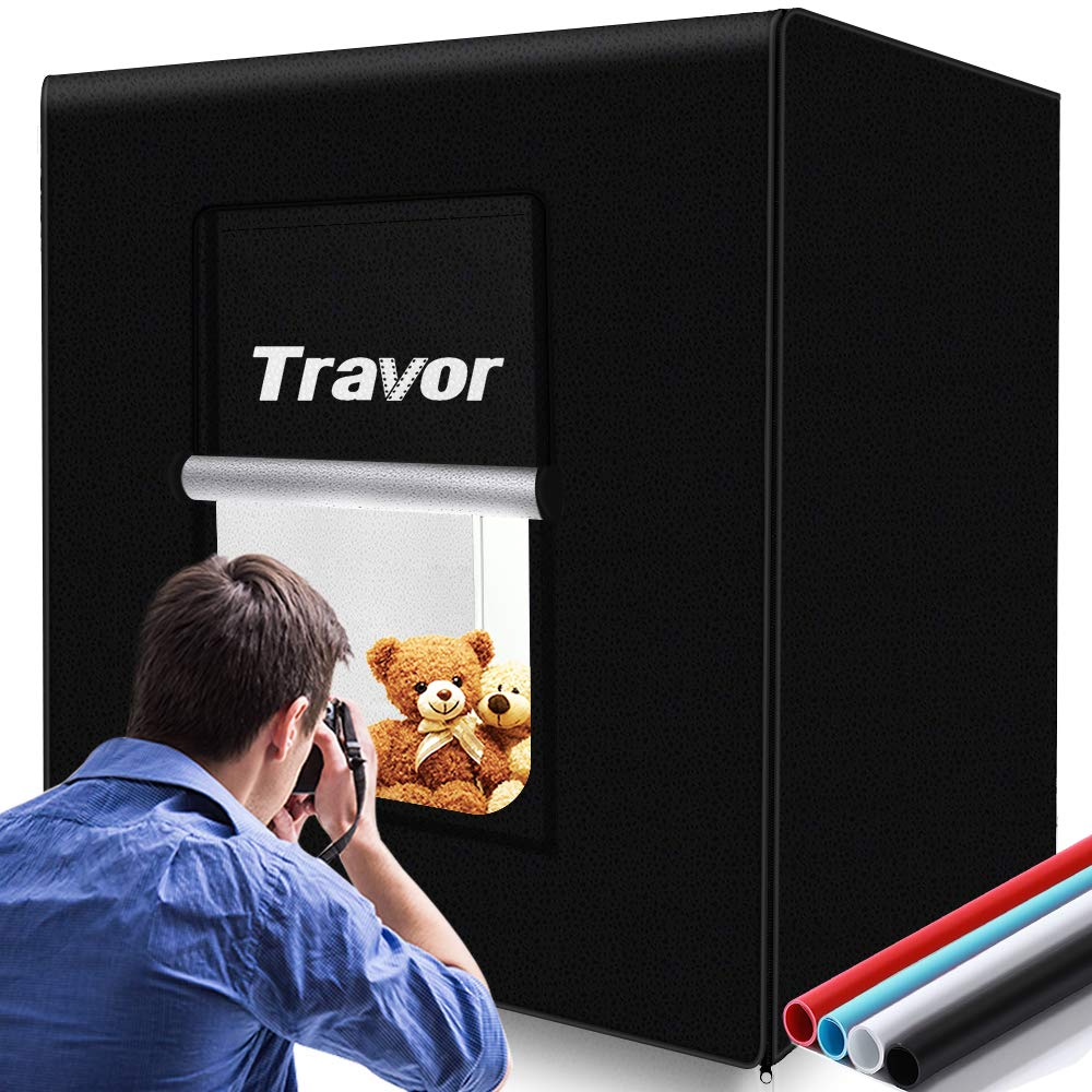 Travor Photo Light Box Kit 32x32Inch Dimmable Photo Studio Professional Shooting Tent with LED Lights, 4 Backdrops (Black White Red Blue) for Photography (Brightness 13000lm, CRI95+) by Travor