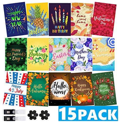 Mogarden Seasonal Garden Flags Set - 15 Pack, Bonus 2 Stoppers & 2 Anti-Wind Clips, 12 x 18 Inches, Double Sided, Thick Weatherproof Yard Flags (Flag Birthday Garden Mini)
