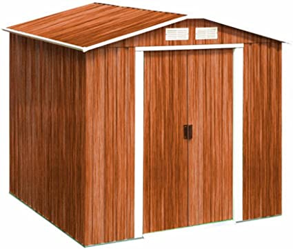 Tepro Geräteschuppen Metall Gartenhaus Gerätehaus Riverton 6x4 Eiche Holzoptik