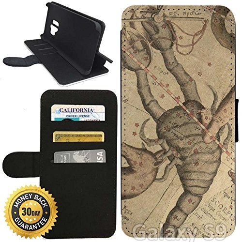 - Flip Wallet Case for Galaxy S9 (Vintage Constelation of Scorpio) with Adjustable Stand and 3 Card Holders | Shock Protection | Lightweight | Includes Stylus Pen by Innosub