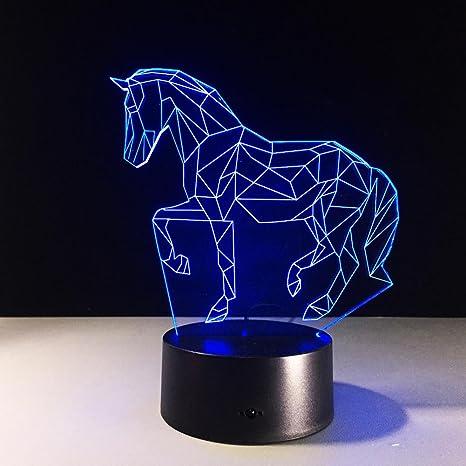 Lichter 3d Lampe Led Bunt Acryl Stereo Beruhrungsschalter Gradient Beleuchtet Geometrie Pferd Amazon De Beleuchtung