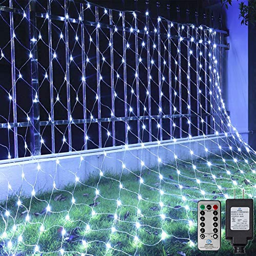 Ollny 200 LED Net Mesh Fairy String Lights 9.8ft x 6.6ft Christmas Tree wrap with Remote for Outdoor Bushes Indoor Wedding Background Decorations Cool White