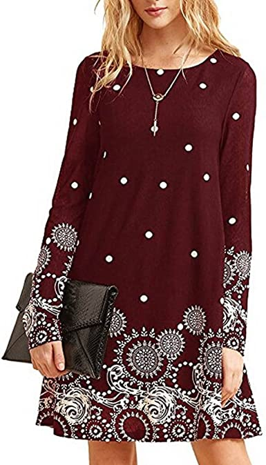 Womens Casual Dresses Bohemian Vintage Ethnic Printed Slim Beach Mini Dress Loose 3//4 Sleeve Summer Sundress