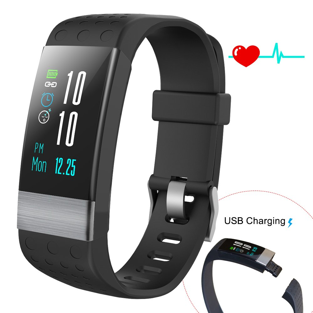 COSVII Fitness Tracker Large Color Screen, IP67 Waterproof Smart Bracelet with Heart Rate Monitor, Sleep Monitor, Blood Pressure Monitor,Pedometer, Calorie Tracker, Call& SMS Reminder for Kids (Black)