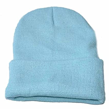 feb07629b Clearance! Challyhope Beanie for Women and Men - by Unisex Cuffed Plain  Skull Toboggan Knit Hat and Cap(Light Blue, one-Size)