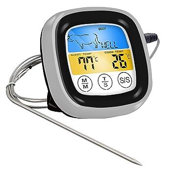 BESTONZON Termómetro digital para alimentos, pantalla táctil, parrilla para horno, ahumador, con