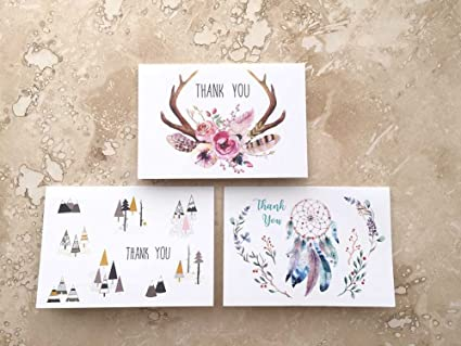 Amazon Hipster Boho Spirit Bohemian Thank You Cards With 3