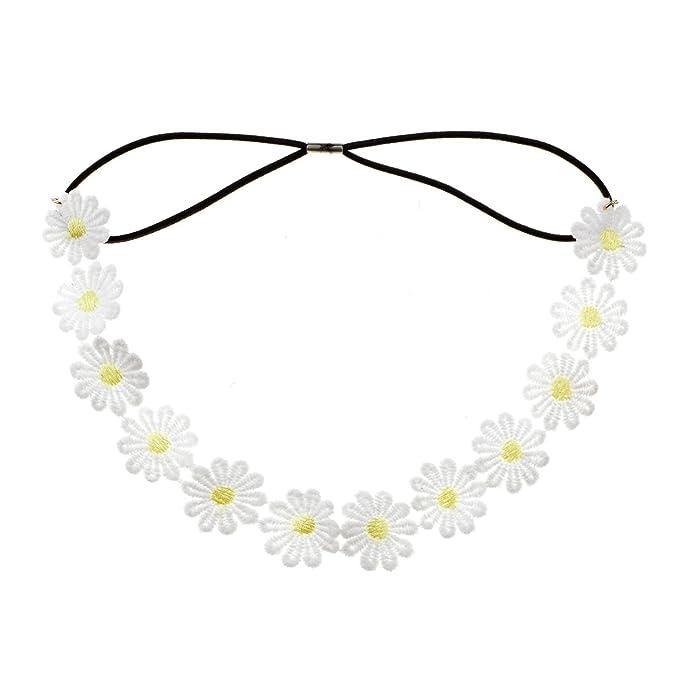 Amazon.com: accesyes Daisy flor diadema Boho girasol corona ...