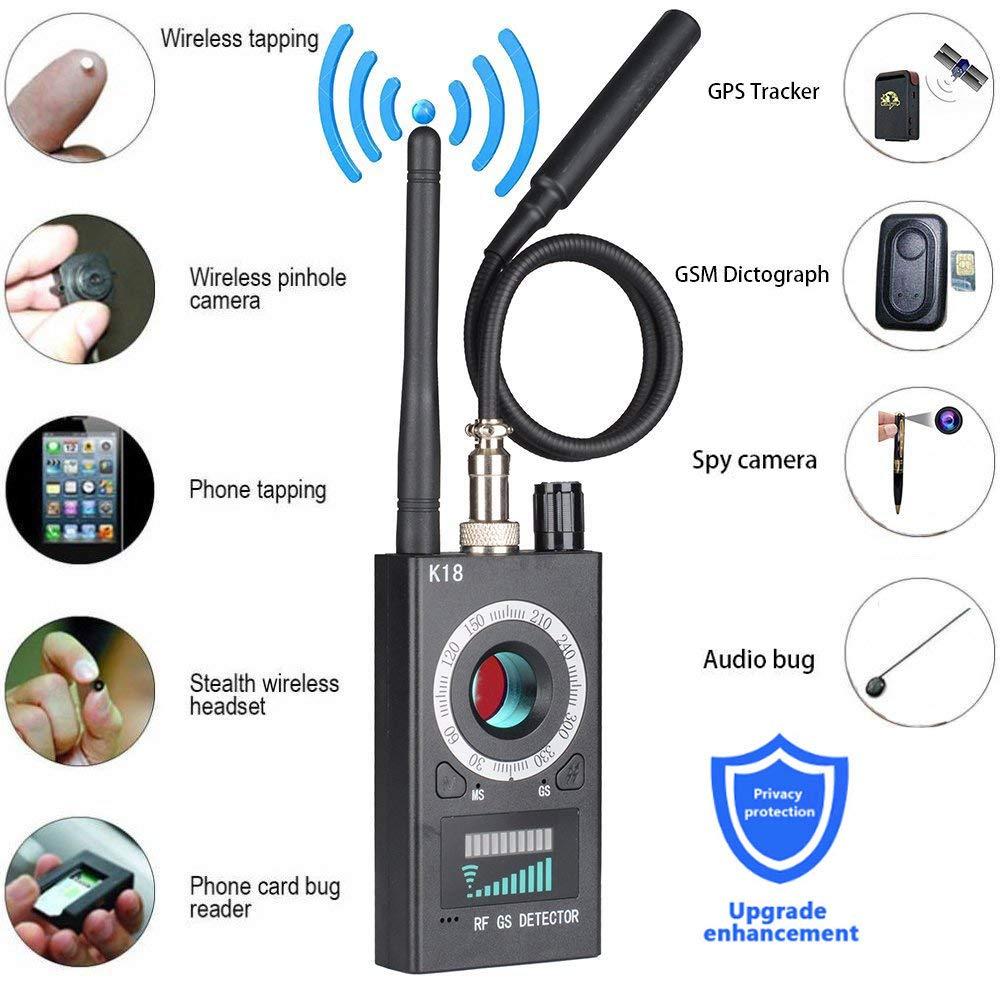Professional Wireless RF Signal Detector, Sensico Anti Spy Camera Detector Set, K18 Multi-Functional GSM Device Finder, Wireless Audio Bug Hidden Camera Detector GPS Tracker Radar Scanner
