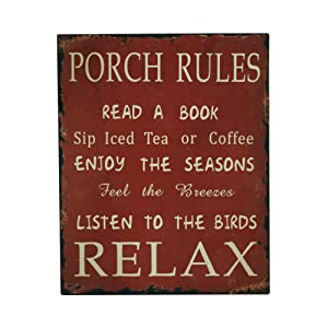 YK Decor Porch Rules Metal Sign Read A Book Sip Iced Tea Enjoy Seasons Listen To Birds Relax Decorative Porch Signs for Home Decor