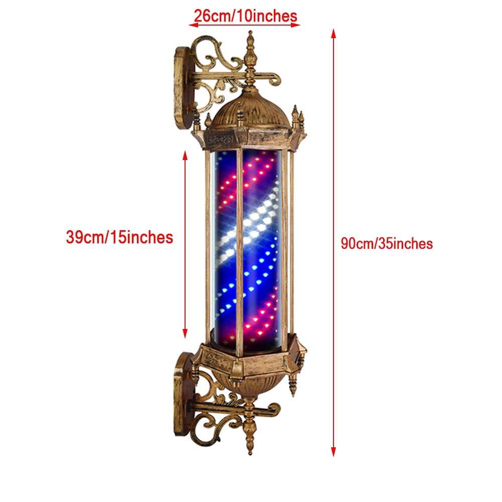 Azul Y Blanco L/ámpara De Pared Impermeable Grande Muy Brillante,90cm//35in,A KauiP Poste De Barbero Barber Pole Led Luminoso Giratorio Peluquer/ía Sal/ón Rojo