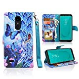 For LG Aristo 2/LG Tribute Dynasty/LG Zone 4/LG Fortune 2/Risio 3/Rebel 3 LTE/Rebel 2/K8 2018/K8+ Plus/Fortune/Risio 2 Wallet PU Leather Pouch Case ID Credit Card Cover Flip Folio (Butterfly Art)